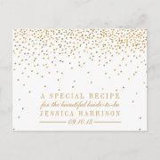 Vintage Gold Confetti Bridal Shower Recipe Invitations
