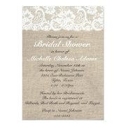 Vintage Lace Burlap Bridal Shower Invitation