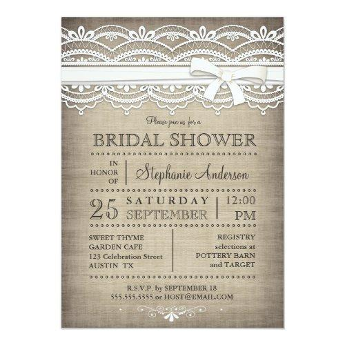 Vintage Lace & Linen Rustic Country Bridal Shower Invitations