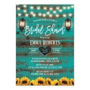 Vintage Lantern Sunflower Teal Wood Bridal Shower Invitation