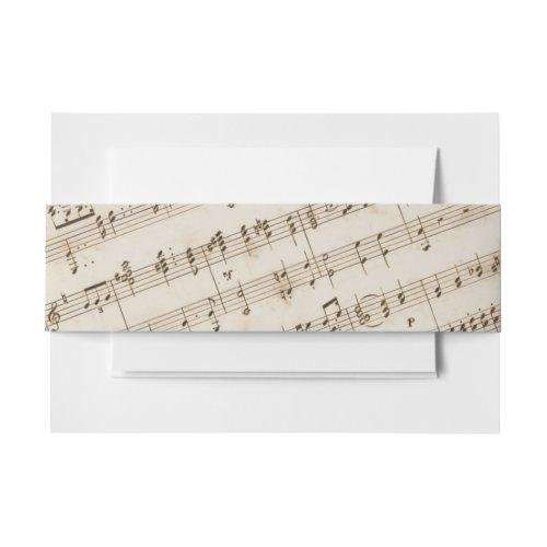 Vintage Old Music Sheet Musical Invitation Belly Band