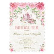 Vintage Pink Floral Bridal Shower Tea Party Invite