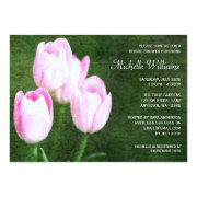 Vintage Pink Tulips Bridal Shower Invitations