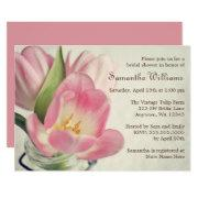 Vintage Pink Tulips Mason Jar Invitations