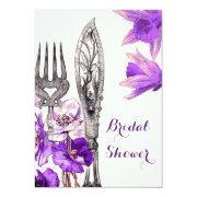 Vintage Purple Cutlery Poppy Daffodil