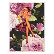 Vintage Purple Floral Retro Pin Up Girl