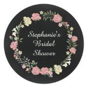 Vintage Roses Wreath Chalkboard Bridal Shower Announcement