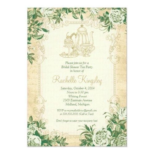 Vintage Tea Party Bridal Shower Invitation