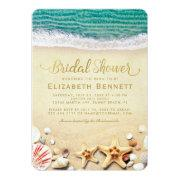 vintage tropical beach starfish bridal shower invitation