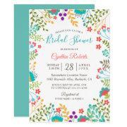 Vivid Fresh Spring Floral Cute Bridal Shower Invitations