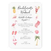 Watercolor Beach Bachelorette Weekend Itinerary Invitation