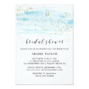 Watercolor Blue And Gold Sparkle Bridal Shower