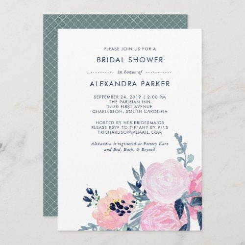 Watercolor Blush And Navy Floral Bridal Shower Invitation