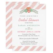 Watercolor Blush Pink Stripes Floral Bridal Shower