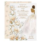 Watercolor Bride Magnolia Bridal Shower Invitation