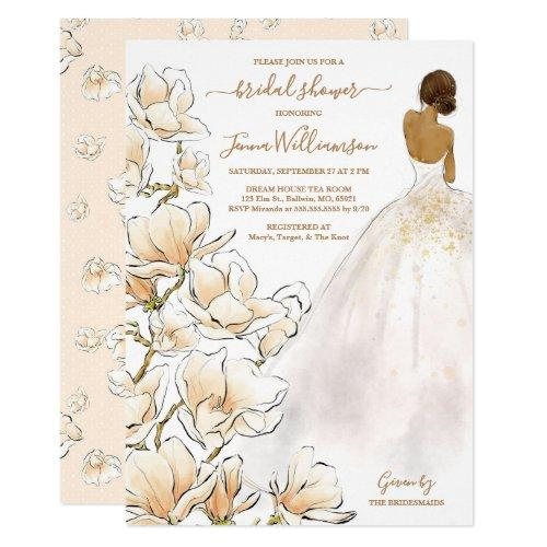Watercolor Bride Magnolia Bridal Shower Invitation