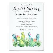 Watercolor Cactus Bridal Shower Invitation