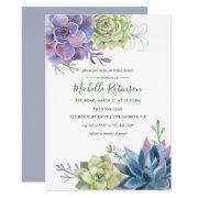 Watercolor Desert Cactus Succulents Bridal Shower