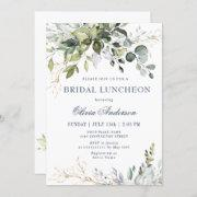 Watercolor Eucalyptus Greenery Bridal Luncheon Invitation