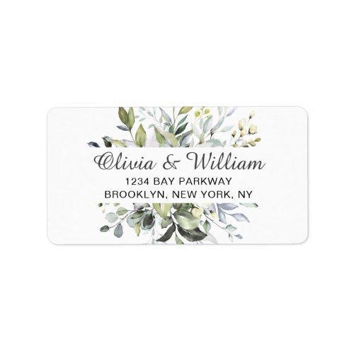 Watercolor Eucalyptus Greenery Elegant Chic Label