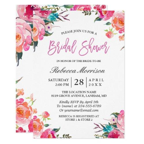 Watercolor Floral Botanical Wreath Bridal Shower Invitations