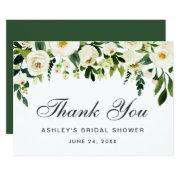 Watercolor Floral Green Bridal Shower Thank You Invitations