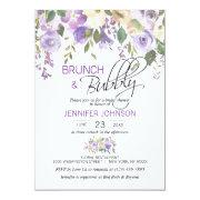 Watercolor Floral Lavender Purple Bridal Brunch Invitation