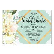 Watercolor Floral Mint Green Gold Bridal Shower Invitations