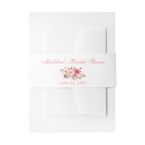 Watercolor Floral Pink Blush Bridal Shower Invitation Belly Band