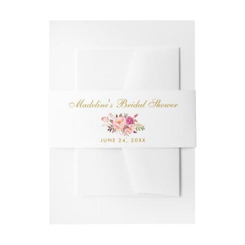 Watercolor Floral Pink Blush Gold Bridal Shower Invitation Belly Band