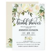 Watercolor Floral Pink Cream Ivory Bridal Shower