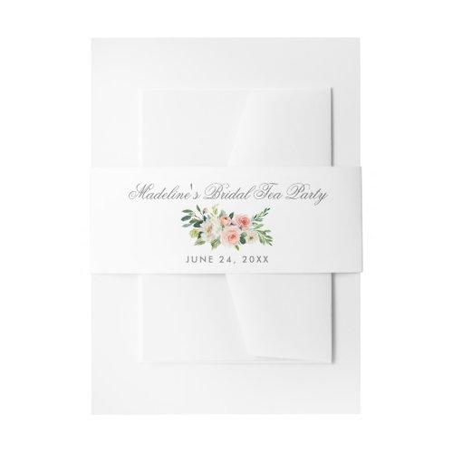 Watercolor Floral Pink Silver Bridal Tea Party Invitation Belly Band
