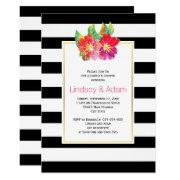Watercolor Flowers, Stripes Wedding Couples Shower