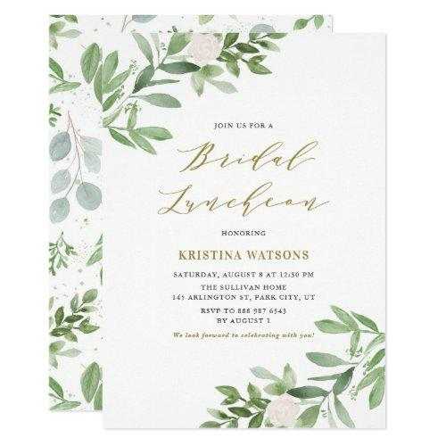 Watercolor Greenery And Flowers Bridal Luncheon Invitation