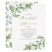 Watercolor Greenery And Flowers Bridal Shower Invitation