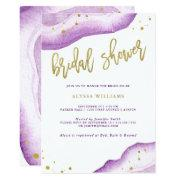 Watercolor Lavender And Gold Geode Bridal Shower Invitations