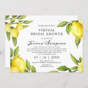 Watercolor Lemons Virtual Bridal Shower By Mail Invitation