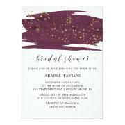 Watercolor Marsala And Gold Sparkle Bridal Shower