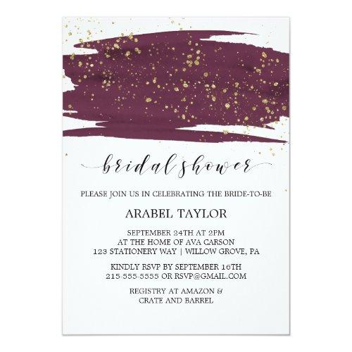 Watercolor Marsala And Gold Sparkle Bridal Shower Invitations