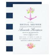 Watercolor Nautical Themed Floral Bridal Shower