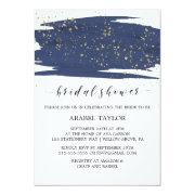 Watercolor Navy And Gold Sparkle Bridal Shower