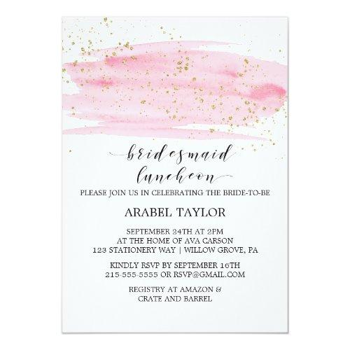 Watercolor Pink Blush And Gold Bridesmaid Luncheon Invitations