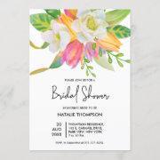 Watercolor Pink Tulip Bridal Shower Invitation