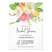Watercolor Pink Tulip Bridal Shower Invitations