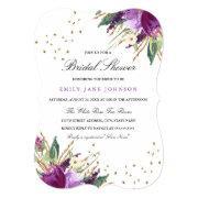 Watercolor Purple Gold Flower Bridal Shower Invite