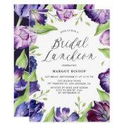 Watercolor Purple Tulips Floral Bridal Luncheon Invitation