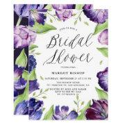 Watercolor Purple Tulips Floral Bridal Shower Invitations