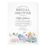 Watercolor Succulent Floral Bridal Shower Invitations