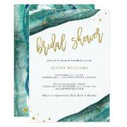 Watercolor Teal And Gold Geode Bridal Shower Invitation