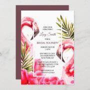 Watercolor Tropical Bridal Tea Party   Flamingoes Invitation